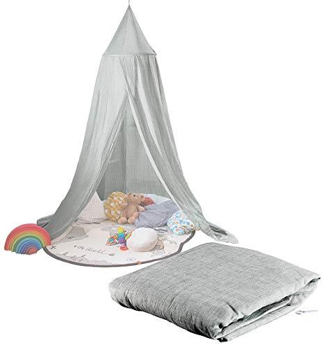 infactory Baldachin Kinder: Kinder-Betthimmel mit Insektenschutz, grau, zusammenfaltbar (Himmelbett)