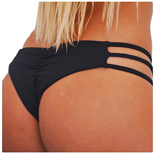 Dorical Damen Bikinihose Bikinislip Panty Bikini-Hose Seitlich Hohl/Frauen Badehose Tanga String Rüschen Brazilian Sexy Bikini Slip Schnüren Höschen Unterwäsche Schwimmhose(Schwarz,Medium)