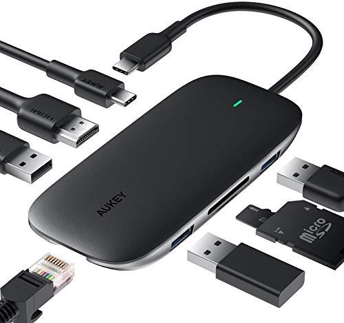 USB Type C ハブ AUKEY 8-in-1 usb c ハブ 100W PD急速充電/イーサネット/4K HDMI/USB3.0×2/USB2.0/SD&Micro SDカードスロット搭載 Macbook/ChromeBook 他対応 ブラック [正規メーカー2年保証] CB-C71【収納ポーチ付き】