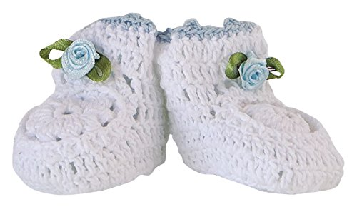 Mopec Patuco Decorativo de Ganchillo Hechos a Mano, Pack de 6 Unidades, Crochet, Blanco, 3.50x6.50x4.00 cm