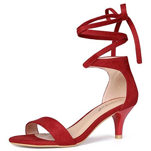 Allegra K Sandalias de Vestir Punta Abierta tacón bajo de Aguja Cordón Arriba para Mujer - Rojo/US 7.5, EU 38