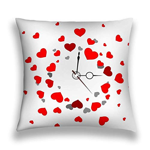 Room Decor Throw Pillow Cushion Cover, Decorative Square Accent Pillow Case,Nice Beautiful Clock Grey Background Funny red HEA