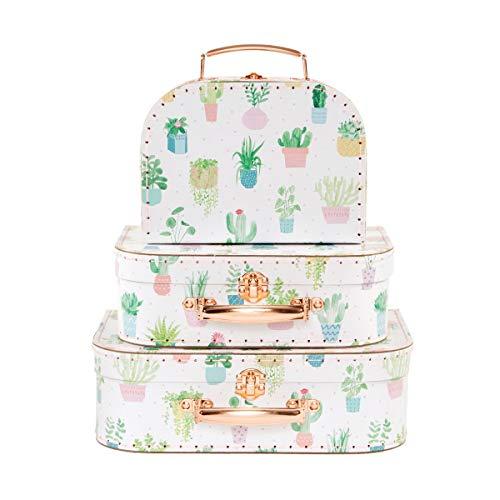 Sass & Belle Pastel Cactus Suitcases - Set of 3