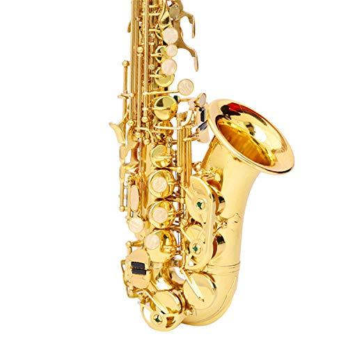 JenLn Kid Goldlack E Wohnung Alt-Saxophon mit Fall, Schmiermittel, Case, Gurt, Mundstück, usw. (Color : Gold, Size : 48X28X90CM)