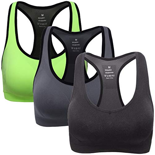 MIRITY Women Racerback Sports Bras - High Impact Workout Gym Activewear Bra Color Green Black...