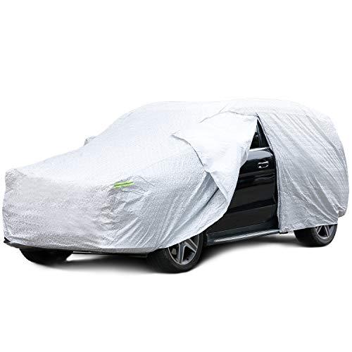 INTEY Funda para Coche SUV, Funda Exterior del Coche, Anti-UV con apertura lateral, ebillas cortavientos ajustables, Resistente a excrementos de paloma (4,9x1,93x1,8m)