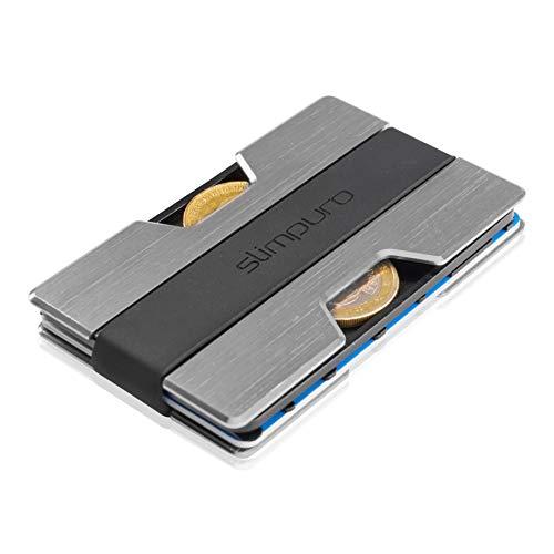 Premium Kreditkartenetui aus Aluminium mit Münzfach und Geldklammer Nano - RFID NFC Schutz - Slim Wallet Kartenetui - Filzschutz gegen Kartenabrieb - Geldbörse Portmonee für Minimalisten (Silber)