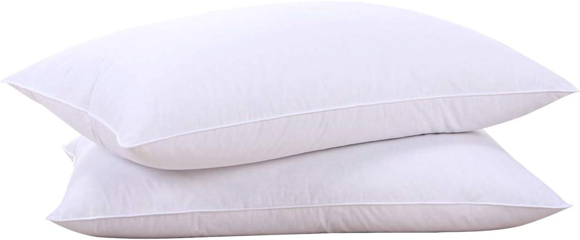 puredown Goose Down Feather White Pillow Inserts, 100% Cotton Fa