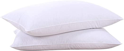 Puredown Goose Feather Pillow White Down Pillow Bed Pillows for Sleeping 100% Cotton Fabric Cover Set of 2 Standard White PD-DP15021-S