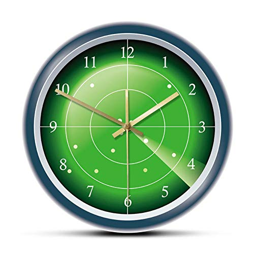 MXHJD-Reloj de Pared de diseñador de Radar Verde Militar, Pantalla Hud con Arte de Pared de Destino, escaneo de Aviones, tráfico aéreo, Decorativo Wall-No_Frame