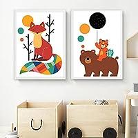キャンバス絵画カラフルな漫画動物クマタイガーフォックス画像北欧の壁アートポスタープリント赤ちゃんの寝室の家の装飾-40x60cmx2フレームなし