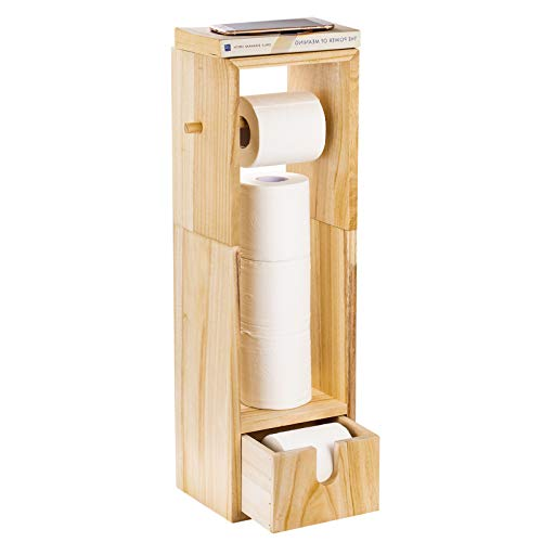 toilet paper holder with storages NEX Toilet Paper Holder, Real Wood Bathroom Toilet Tissue Paper Roll Holder Stand and Dispenser with Storage