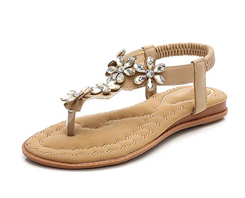 YNSH Damen T-Strap Open Toe Thong Sandals Sparkle Jewels Flip-Flops Sommerkleid Flache Sandalen-apricot-36MEU