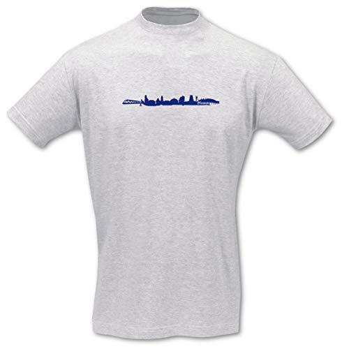 Samunshi® T-Shirt Hamm Skyline, Imperial Größe XXL, ash/königsblau