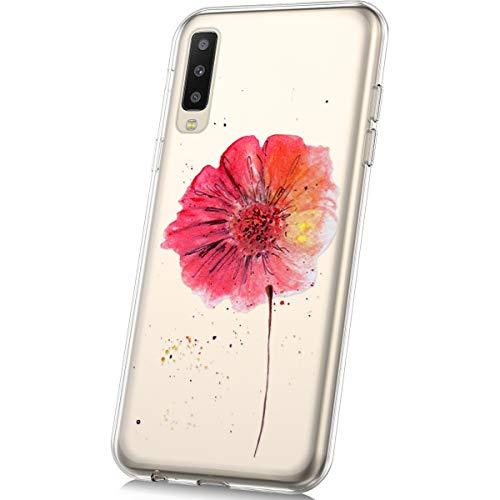 JAWSEU Coque Étui Samsung Galaxy A50 Transparente Silicone,Ultra Mince Soft TPU Cristal Clair Housse Coque Mode Belle Lovely Motif Coque de Protection,Fleur
