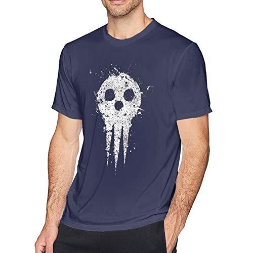 Baixru Men Soul Eater Death Logo Tee Navy Crew Neck T-Shirts