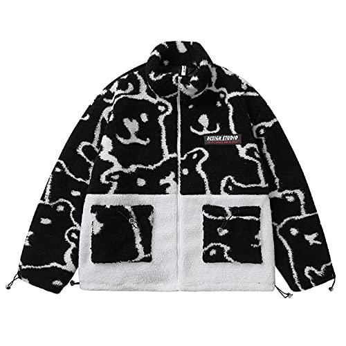 7HAHA3 Abrigo de Lana de Cordero para Hombre Chaquetas de Diseño con Costuras de Vellón Sintético Sudadera Otoño Invierno Cálido Tops Unisex,Black,L(167cm70kg)