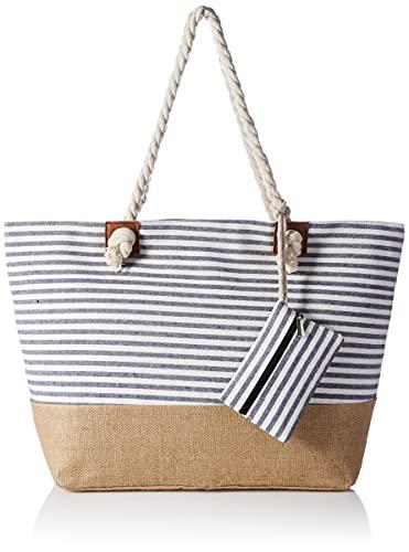 HIKARO große Strandtasche wasserabweisend und robust mit Reißverschluss Streifen dunkelblau