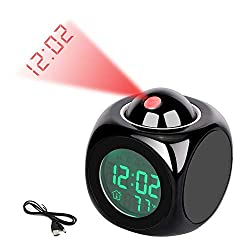 Baugger Projection Clock - Multi-Function Projection Clock LED Colorful Backlight Electronic Alarm Clock Voice Report with Thermometer Snooze Function