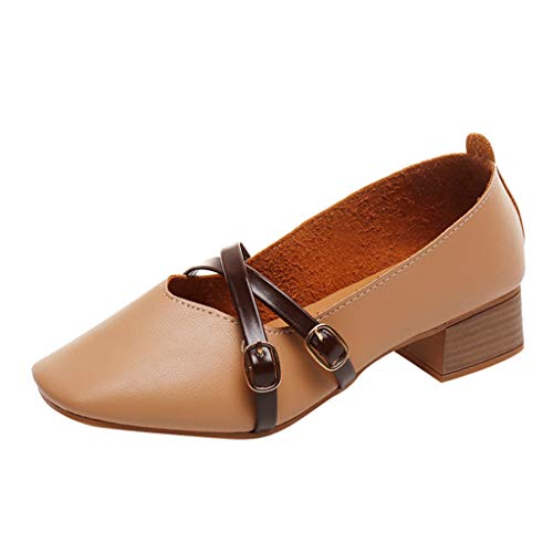 MRULIC Damen Mode Eckige Spitze Quadratische Ferse Freizeitschuhe Einzelne Schuhe Weiche Lederstiefel(Khaki,EU-35/CN-36)