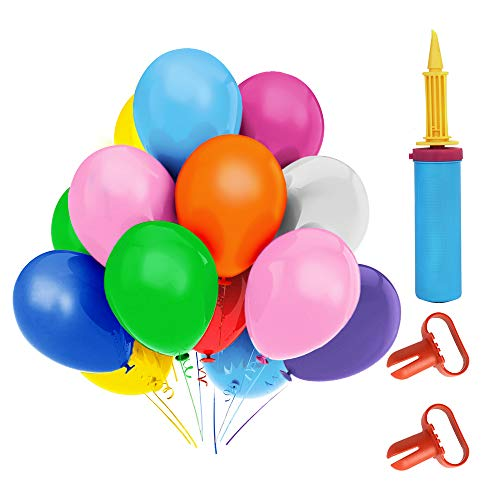 Lacoreka 100 Assorted Color Balloons for Birthday 12 Inches 10 Kinds of Rainbow Party Latex Balloons, Helium Bulk Balloons for Kids Party Decoration, Birthdays Party Supplies or Arch Decoration