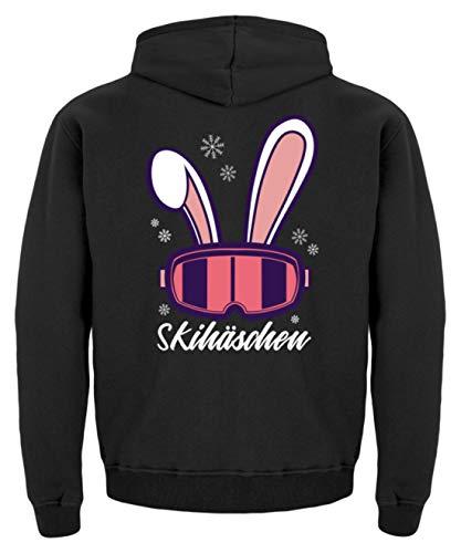 Generisch Skihässchen Skihase Skifahren Snowboard Wintersport Apres Ski Frauen - Kinder Hoodie -3/4 (98/104)-Jet Schwarz