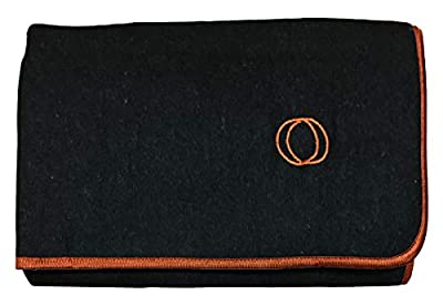 "Orion Outpost Trading Co. ""Lodge Military Wool Blanket, 4 lbs, 66"" x 84"" (Gray/Burnt Orange Border)"
