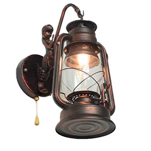 Lámparas de Pared Retro Linterna de Queroseno Lámpara de Pared de Sirena con Interruptor de Tiro, Aplique de Noche Antiguo Vintage LED E27 Hierro Forjado Interior