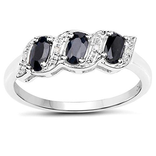La Colección Anillos Diamantes: Anillo de Plata de Zafiro genuino y Diamantes Anillo de Eternidad o Compromiso Talla del anillo 20