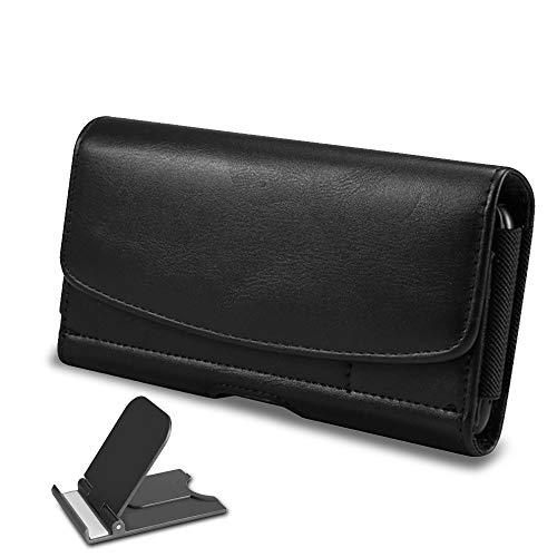 FineGood Handy-Holster mit klappbarem Handyständer, Ledergürtelclip-Etui mit Ausweishalterung Passend für Smartphone-Handys