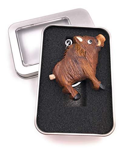 Onwomania Llavero de Madera de jabalí Colmillos de jabalí Colgante de Cerdo con pezuña hendida En Caja de Regalo