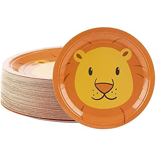 Platos desechables – 80 unidades de platos de papel, suministros de fiesta de león para aperitivos, almuerzo, cena y postre, cumpleaños de niños, 20 x 20 cm