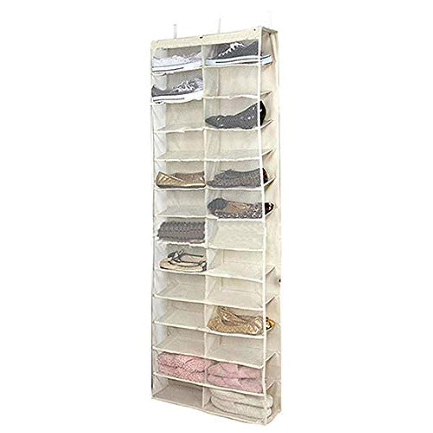 Canyixiu-Hanger Over The Door Shoe Organiser, Over The Door Shoe Organizer 26 Large Mesh Pockets Hanging Closet Door, Black. Hanging Narrow Wardrobe Door (Color : Beige)