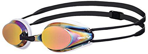 arena Tracks Mirror Anti-Fog Wettkampf Schwimmbrille Unisex für Erwachsene, Schwimmbrille mit verspiegelten Gläsern, UV-Schutz, 4 Austauschbare Nasenstege, Silikon Dichtungen
