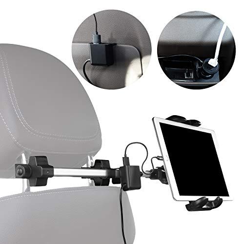 Macally HRMOUNTPRO4UAC, soporte para reposacabezas de tableta de modo dual con cargador USB para asiento de coche delantero y trasero, para iPad y otras tabletas, Nintendo Switch, etc.