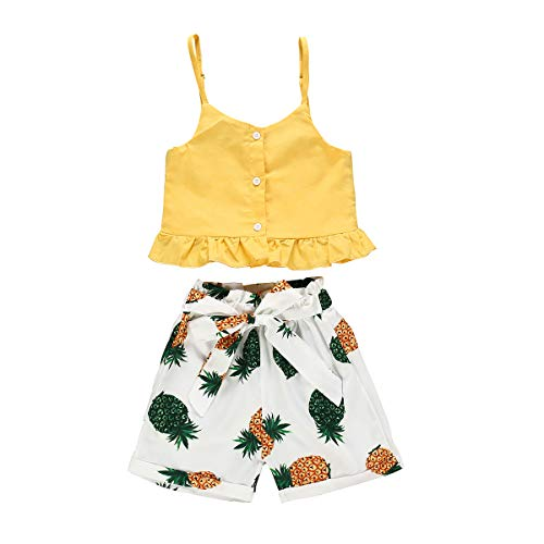 Toddler Baby Girl Short Outfits Yellow Halter Crop Tops + Pineapple Shorts Summer Clothes Set