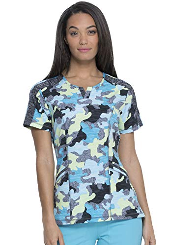 Dickies Shaped V-Neck Scrub Top, L, Totally Textured Camo