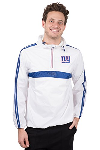 Ultra Game NFL New York Giants Mens Quarter Zip Pullover Hoodie Packable Windbreaker Jacket, White, Medium