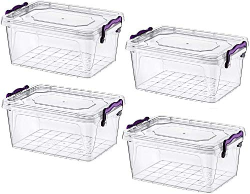 Food Storage Box with Lid Handle Clip Lock Plastic Clear Food Container Plastic (5 Liters)