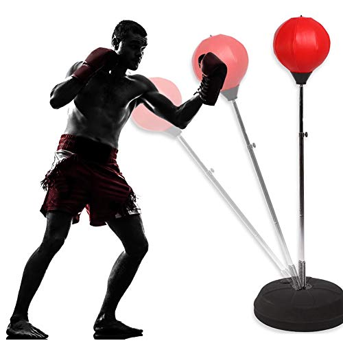 GOTOP Punching Ball Boxsack Boxsack mit Boxhandschuhen, Punching Stand Fitness Punching Ball für Erwachsene Erwachsene Erwachsene Höhe verstellbar 125-140 cm