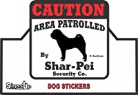 【CAUTION】 Shar-Pei Security Co. ステッカー:シャーペイ 耐水性 シール Made in U.S.A [並行輸入品]