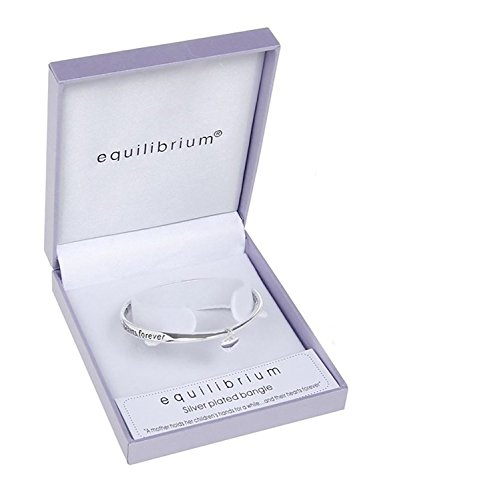Equilibrium Silver Plated Bangle - A Mother Holds Her Children's Hand For A While..And Their Hearts Forever