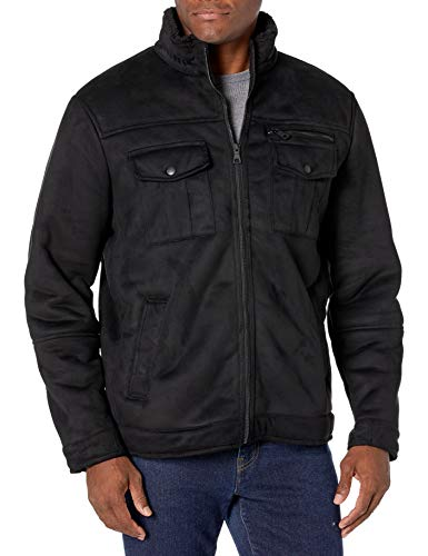 G.H. Bass & Co. Men's Faux Shearling Sherpa Lined Military Jacket, Black, Large