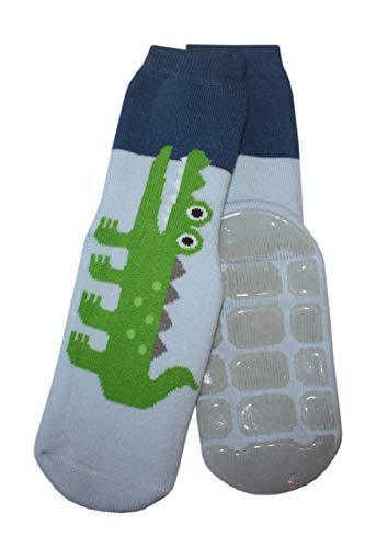 Weri Spezials Calcetines para bebé y niños con tope ABS antideslizante, diseño de cocodrilo, color azul claro azul claro 31 cm-34 cm