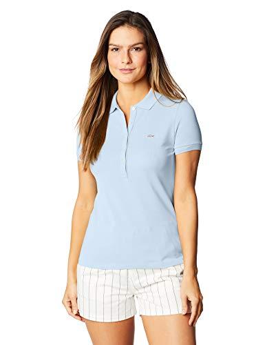 Camisa polo Lacoste feminina em minipiquet stretch, Azul Claro, G