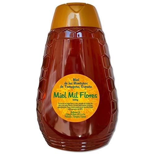 Packung x 4 – Tausend-Blumen-Honig - 500 gr x Flasche. In Spanien hergestellter natürlicher Honig. Honig mit blumigem Aroma und exquisitem Geschmack.