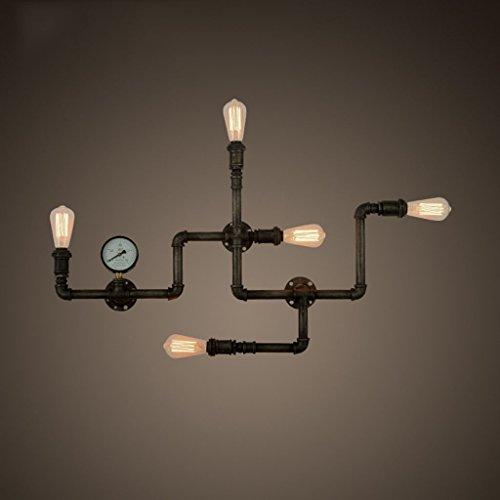 ZWL Retro Iron Water Pipe Lampe murale Living Room Dining Light, Loft Creative Multiple Heads E27 Corridor Lights Escalier Balcon Eclairage de l'allée Eclairage Applique Lampe Bar Café Déco Lampe murale mode ( Couleur : #1 )