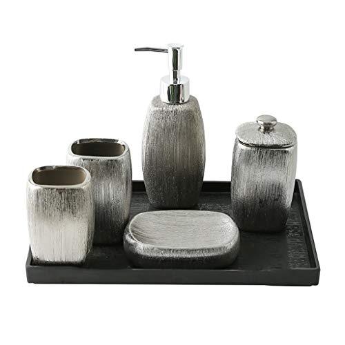 Despachador de Jabón 6 piezas de accesorios de baño de lujo de plata electrochapada Jabón Dispensador de cerámica Set Incluye: dispensador de la loción, botella Esponja de algodón, Bandeja, vaso y pla