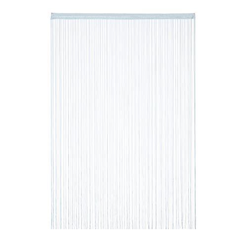 Relaxdays Fadenvorhang, 145x245 cm, mit Tunneldurchzug, kürzbar, für Türen & Fenster, Fadengardine, waschbar, Silber