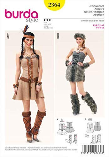 Burda Schnittmuster 2364Native American Und Stone Age weiß